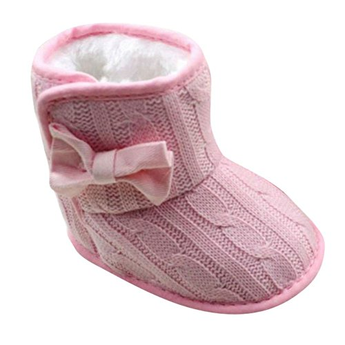 Baby Girls Bowknot Winter Snow Boots (Pink) - 8