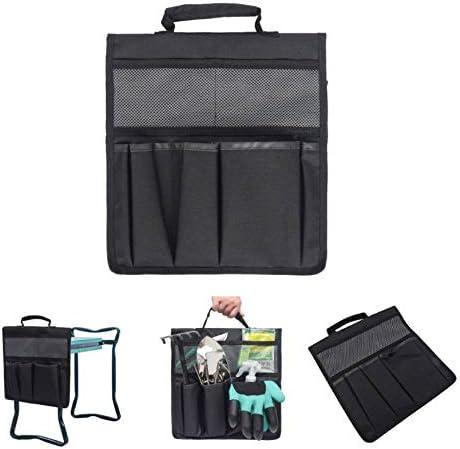 LFAMX Garten Hocker Werkzeugtasche, Faltbarer Werkzeugaufbewahrung Organisator mit Mehreren Taschen und großem Fassungsvermögen für die Gartenarbeit im Freien. (Black)