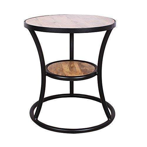 storeindya Wooden Large Round Coffee Center Table Shelf Rack End Table Indoor Outdoor Home Furniture Decor Display Stand Storage Organizer 18 x 22 Inches - Housewarming Gifts