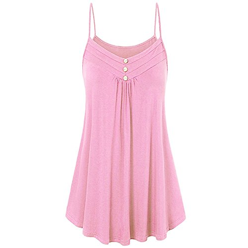 Beaded In Sweater Cut (HGWXX7 Women Summer Casual Loose Button V Neck Solid Cami Vest Blouse Tank Tops (L,Pink))