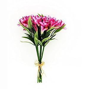 FloristryWarehouse Artificial Alstroemeria Bundle Pink 13 Inches x 5 Stems 48