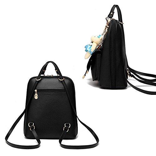 White Leather PU Girls Vintage School Lovely Travel Casual Backpack Women Backpack q4vnwAtn