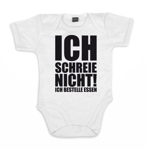 ::: ICH SCHREIE NICHT! ICH ... ::: Baby Body, Weiß/Schwarz, 6-12 Mon