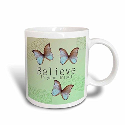 Trio Art Butterfly (3dRose mug_79197_2 Believe in Your Dreams Butterfly Trio- Inspirational Words Ceramic Mug, 15-Ounce)