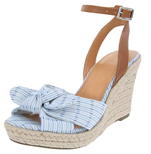 Nautica Women's Curia Espadrille Wedge Sandals with Stripe Bow-Soft Blue-9 ()