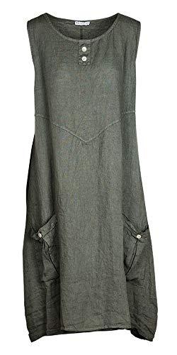 M Made in Italy - Women's Sleeveless Linen Dress (S) Olive ()