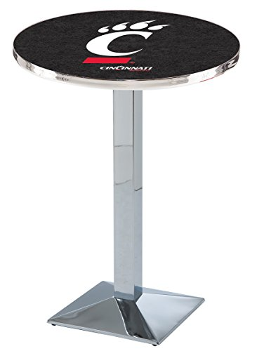 (Holland Bar Stool L217C University of Cincinnati Officially Licensed Pub Table, Chrome, 28