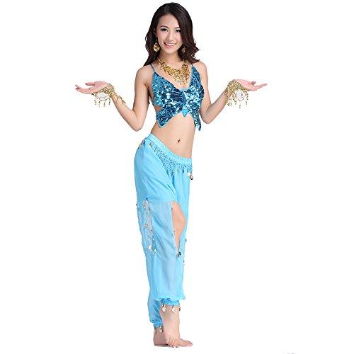 Danza Trajes Dancewear Danza del vientre Disfraz Conjunto Bandage Butterfly Tops & Chiffon Coins Led Open Pants Light Blue
