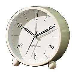 Black Temptation Round Silent Alarm Clock Battery Operated Light Functions [C] #01