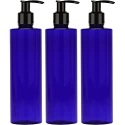 Empty Lotion Bottle 8 Oz. with Black Pump, Cobalt Blue, Great for - Creams, Body Wash, Hand Soap, Self-Tanners, Bronzers and Massage Lotion (Pack of 3)