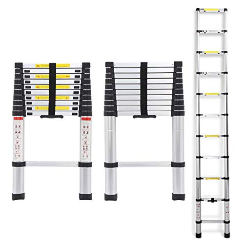 Telescopic Ladders 10.5ft 3.2M 150KG Max Capacity Extension Folding Portable Aluminium Lightweight Easy to Store in Car Trunk Home Loft Attic Step Ladder DIY Builer Supplies