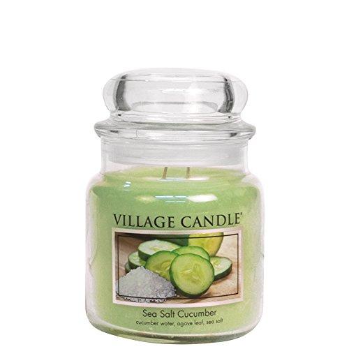 - Village Candle Sea Salt Cucumber 16 oz Glass Jar Scented Candle, Medium