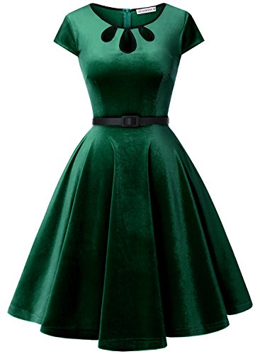 MUADRESS 6010 Vintage Velvet Retro Cocktail Party Dress With Cap-Sleeves Prom Dress Green S
