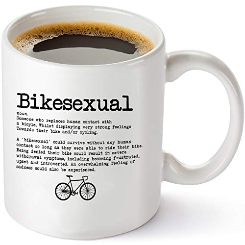 Bikesexual Cycling Coffee Mug - Perfect Bicycle Lover Gift For Men and Women - Birthday Gifts For Mountain or Road Bicyclist - 11 oz Tea Cup ()