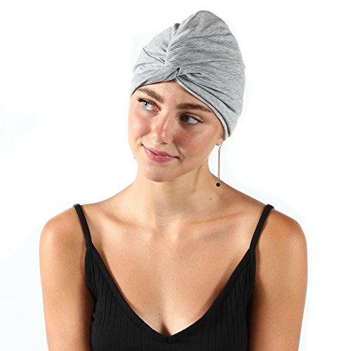 Pretty Simple Jersey Knit Comfortable Everyday Cap Headwear Turban for Women with Chemo, Cancer, Hairloss, Alopecia, Light Gray