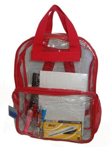 Bulk Buys See-through clear PVC backpack, 17x13x5 inch ,Red - Case of 40 by Bulk Buys