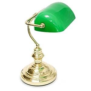 Lámpara de Mesa, Base de metal, Altura: 36 cm, Ø base: 19 cm, Pantalla Verde
