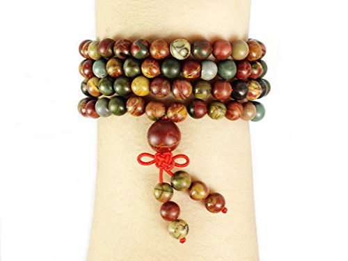 jennysun2010 Handmade Multi-Purpose Natural 6mm Picasso Jasper Gemstone Buddhist 108 Beads Prayer Mala Stretchy Bracelet Necklace Healing 26
