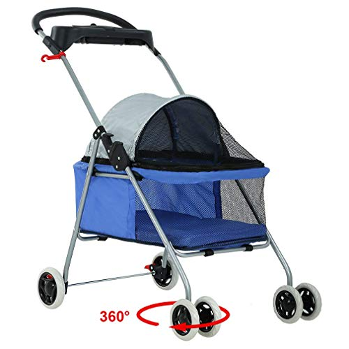 BestPet Pet Stroller 4 Wheels Posh Folding Waterproof Portable Travel Cat Dog Stroller with Cup Holder,Blue (Renewed)