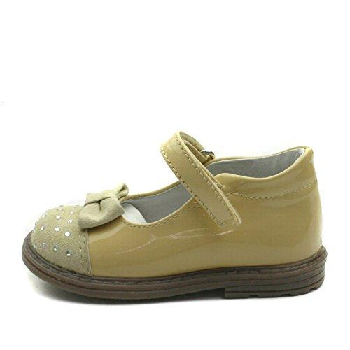SB159 Studio BIMBI Dolly Shoe w/Bow & Strass Smart for Girls >      > Zapato bailarina formales con arco y de Strass para chicas Beige (Beige)