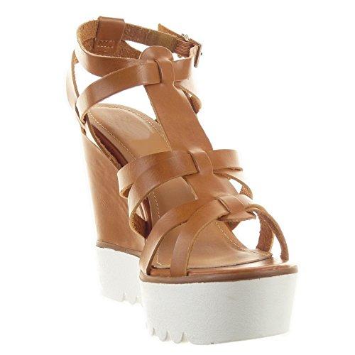 Sopily - Scarpe da Moda sandali scarpe decollete cinturino Zeppe alla caviglia donna multi-briglia fibbia Tacco zeppa piattaforma 12 CM - Cammello