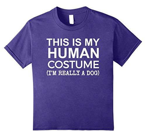 Dog And Human Halloween Costume Ideas (Kids This is My Human Costume, Really a Dog Halloween T-shirt 12 Purple)