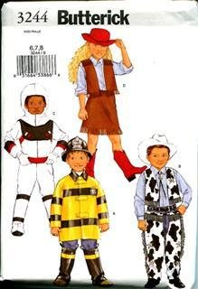 Butterick Costume Pattern Bp222 Size (6,7,8) Child's Costume Cow Girl Vest and Skirt, Cowboy Pants and Vest , Fireman or (Cowboy Vest Pattern)