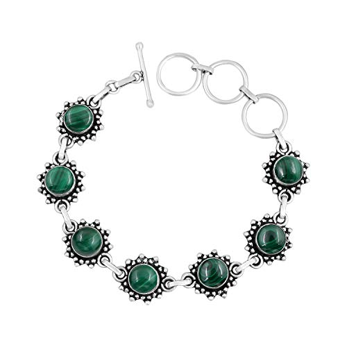 - Genuine Round Shape Malachite Link Bracelet 925 Silver Plated Handmade Vintage Bohemian Style Jewelry for Women