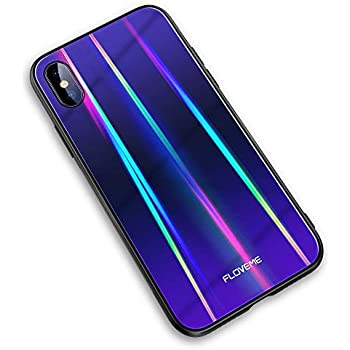 meet b030b 54e69 FLOVEME Laser Aurora Tempered Glass for iPhone Xs Case/iPhone X Case, Ultra  Thin Hybrid Colorful Gradient Hard Back Slim Cover Soft TPU Bumper ...