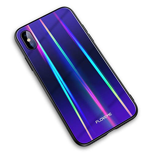 FLOVEME Laser Aurora Tempered Glass Case for iPhone Xs/iPhone X, Ultra Thin Hybrid Colorful Gradient Hard Back Slim Cover Soft TPU Bumper Shockproof Protector Compatible with iPhone X/XS, Purple