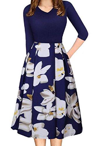 Pocket Coolred A Neck Dress Sleeve Print V Line Women 4 Blue 3 Floral qwpwt