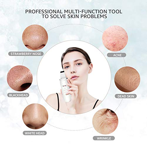 GUGUG Skin Scrubber, Skin Spatula, Blackhead Remover Comedone Extractor Facial Skin Scrubber, Pore Cleanser & IP6X Waterproof USB Charger, Facial Lifting Tool, with 2 Silicone Covers