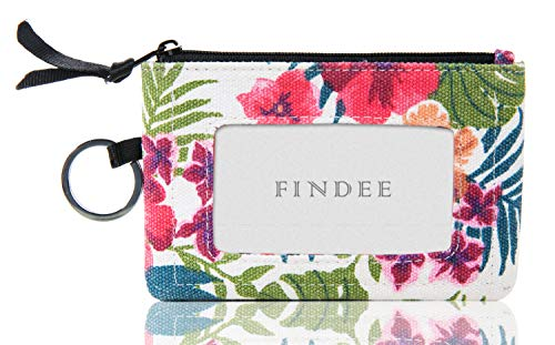 Iconic Zip ID Case Wallet/Coin Purse with Id Window - Signature Cotton (White flower ()