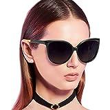 Cat Eye Sunglasses for Women, Polarized Mirrored Lens with 100% UV400 Protection, Trendy Cateye Lightweight Frame Sun Glasses (Black Frame, Grey Lenses)