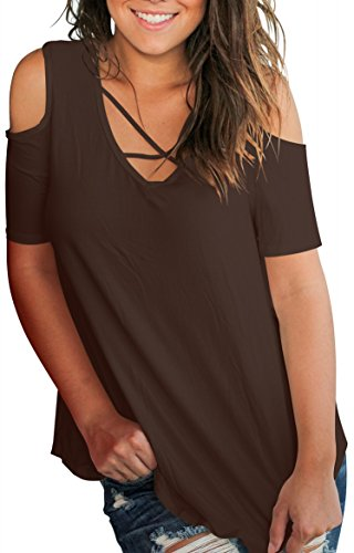 omens Tops in Plus Size Cold Shoulder T Shirt Coffee XXL ()