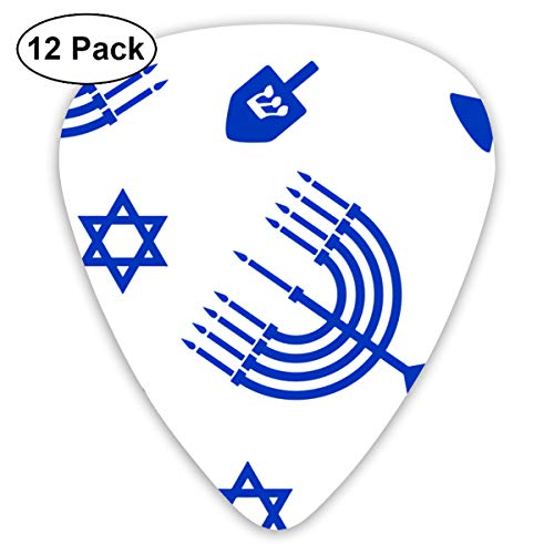 Hanukkah Blue Menorah Ultra Light 0.46 Medium 0.73 Heavy 0.96mm Printed Round Flat Soft Plastic Jazz Electric Acoustic Bass Guitar Pick Accessories Variety ()