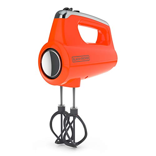 BLACK+DECKER MX600TR Helix Performance Premium 5-Speed Hand Mixer, 5 Attachments + Case, Tangerine