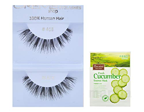 (12 Pairs Creme 100% Human Hair Black Natural False Eyelashes Dozen Pack #415)