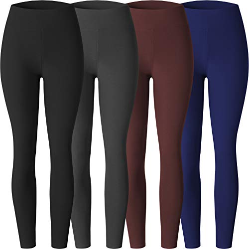 Premium Women's Stretchy High Waist Leggings,Super Soft Full Length Yoga Pants Opaque Slim Color Assorted 4P Size One (Best Yoga Pants Uk)