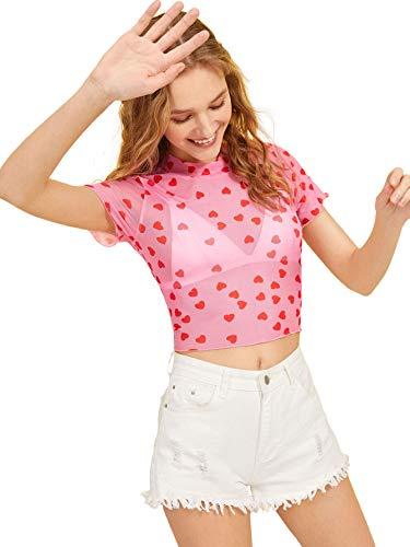 Heart Womens Pink T-shirt - SweatyRocks Women's Short Sleeve Print See Through Sheer Mesh Crop Top T Shirt Pink S