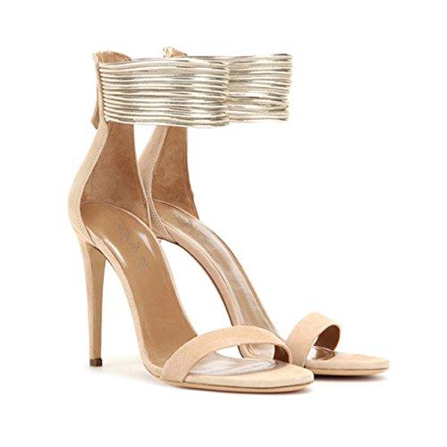 De 2 Gamuza Mujer Elegante Toe Fiesta Talones Sandalias Peep Brillante Zapatos De 4Pd77w