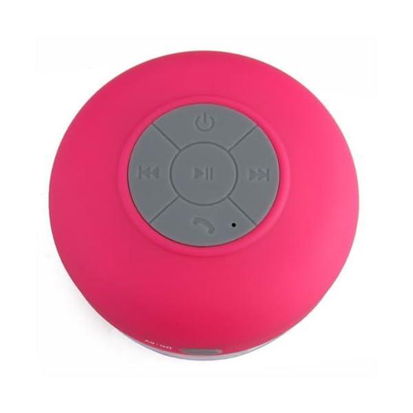 Memteq - Enceinte haut-parleur étanche Bluetooth, à ventouse, pour téléphone portable fuchsia 6