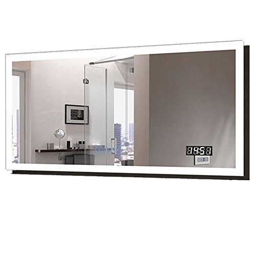 Decoraport 55 x 28 in Horizontal Clock LED Bathroom Mirror with Anti-Fog - Bathroom Clock Lights With And Mirrors Vanity