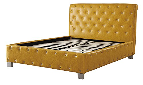 Polyurethane Leather Upholstered Button Tufted Eastern King Bed Citrus Yellow