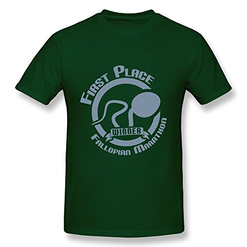 SUYU Men's Fallopian Marathon Cotton Round Collar T Shirt,S,forest Green