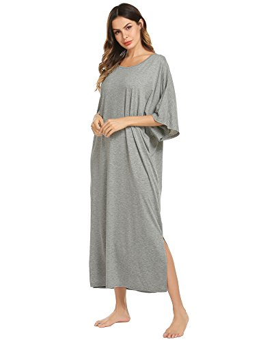 Ekouaer Womens V-Neck Cotton Nightgown Oversized Loose Fit Long Sleep Dress,A grey,X-Large ()