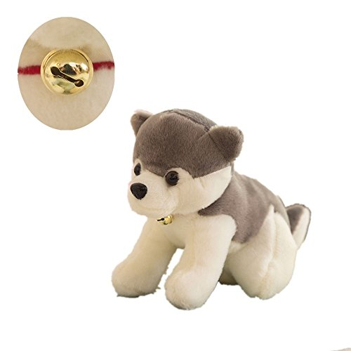 """Hot AQUESOUSLY 7"""" Cute Husky Plush Puppy With Red Ring Bell Stuffed Animals Dogs Plush Toys,Christmas Gift for sale"""