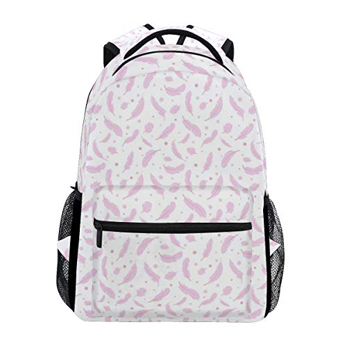 Pink Polka Dot Feather Large Travel Outdoor Sports Laptop Backpack Water Resistant for Women & Men College School