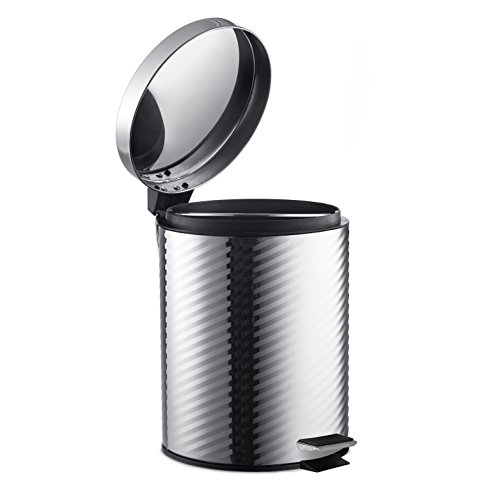 AMG and Enchante Accessories, Round Waste Bin with Diagonal Design, 5L Garbage Trash Can with Step Foot Pedal, WB11A CHR, Polished Chrome by AMG