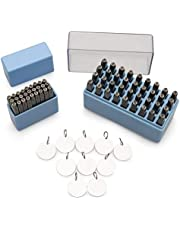 PHILKN 63 Piece Metal Stamp Set - Combination of Lower and Upper Case Letters and Numbers - Used with Metals, Leather, Wood and Plastics - Complete with 10 Piece Stamping Blanks Pack
